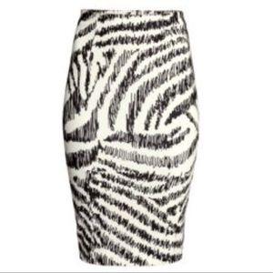 H&M Pencil Zebra Skirt Midi White Black Stretch